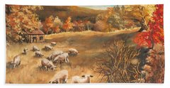 Sheep In October's Field Hand Towel
