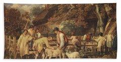 Sheep Shearing, C.1820 Bath Towel