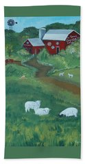 Hand Towel featuring the painting Sheeps In The Meadow by Virginia Coyle
