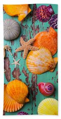 Shells On Old Green Board Hand Towel