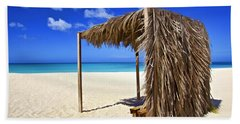 Shelter On A White Sandy Caribbean Beach With A Blue Sky And White Clouds Hand Towel