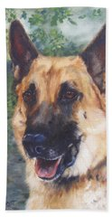 Bath Towel featuring the painting Shep by Lori Brackett