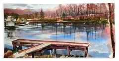 Shepherd Mountain Lake In Winter Bath Towel