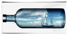 Hand Towel featuring the digital art Ship In Bottle... by Tim Fillingim