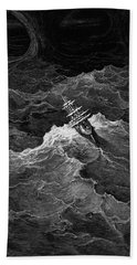Ship In Stormy Sea Bath Towel