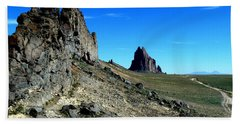 Hand Towel featuring the photograph Shiprock by Alan Socolik