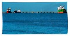 Ships  In Harbor Bath Towel