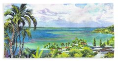 Bath Towel featuring the painting Shores Of Oahu by Carol Wisniewski