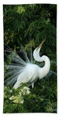 Showy Great White Egret Hand Towel