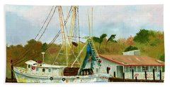 Shrimp Boat At Dock Bath Towel