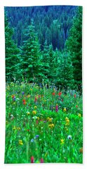 Shrine Pass Wildflowers Bath Towel by Jeremy Rhoades