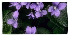 Shy Violets Hand Towel by Louise Kumpf