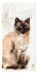 Siamese Beauty Hand Towel by Zaira Dzhaubaeva