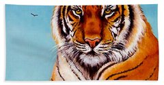 Bath Towel featuring the painting Siberian King Tiger by Bob and Nadine Johnston