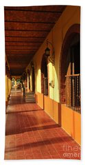 Sidewalk In Tlaquepaque District Of Guadalajara Hand Towel