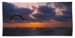 Silhouette Of A Person Paragliding Hand Towel