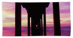 Silhouette Of A Pier In The Pacific Hand Towel