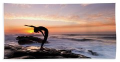 Silhouette Of A Woman Practicing Yoga Hand Towel