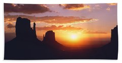 Silhouette Of Buttes At Sunset, The Bath Towel
