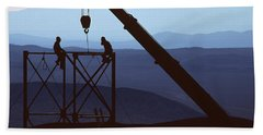 Silhouette Of Crane And Construction Bath Towel