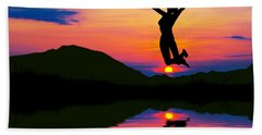 Silhouette Of Happy Woman Jumping At Sunset Bath Towel