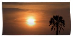 Silhouette Of Palm Tree At Dusk Hand Towel