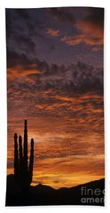 Silhouetted Saguaro Cactus Sunset At Dusk With Dramatic Clouds Hand Towel