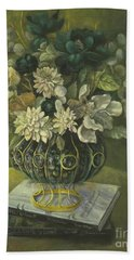 Silk Floral Arrangement Bath Towel by Marlene Book
