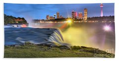 Silky Niagara Falls Panoramic Sunset Hand Towel by Adam Jewell