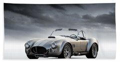 Bath Towel featuring the digital art Silver Ac Cobra by Douglas Pittman