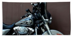 Hand Towel featuring the photograph Silver Harley Motorcycle by Imran Ahmed