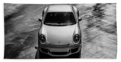 Bath Towel featuring the digital art Silver Porsche 911 Gt3 by Douglas Pittman
