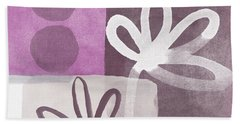 Simple Flowers- Contemporary Painting Hand Towel by Linda Woods