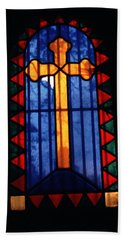 Simple Stain Glass Cross Pere Lachaise Paris Hand Towel