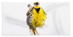 Singing Meadowlark 2 Of 3 Hand Towel by Bill Swindaman