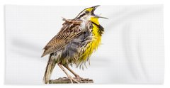 Singing Meadowlark 3rd Of 3 Hand Towel by Bill Swindaman