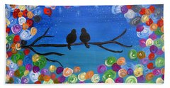 Singing To The Stars Tree Bird Art Painting Print Bath Towel
