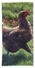 Bath Towel featuring the painting Single Chicken Walking Around On Grass by Martin Davey