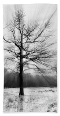 Single Leafless Tree In Winter Forest Bath Towel