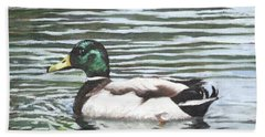 Single Mallard Duck In Water Hand Towel