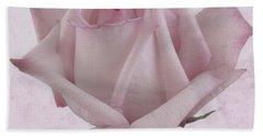 Single Pink Rose Blossom Bath Towel by Sandra Foster
