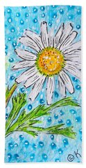 Hand Towel featuring the painting Single Summer Daisy by Kathy Marrs Chandler