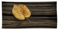 Single Yellow Birch Leaf Bath Towel