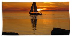 Sister Bay Sunset Sail 2 Hand Towel by David T Wilkinson