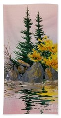 Bath Towel featuring the painting Sitka Isle by Teresa Ascone