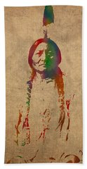 Sitting Bull Watercolor Portrait On Worn Distressed Canvas Hand Towel