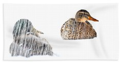 Sitting Ducks In A Blizzard Hand Towel