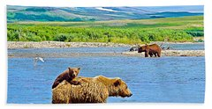 Six-month-old Cub Riding On Mom's Back To Cross Moraine River In Katmai National Preserve-alaska Bath Towel