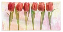 Six Pink Tulips With Green Stems Bath Towel