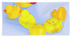Six Rubber Ducks Hand Towel by Valerie Reeves